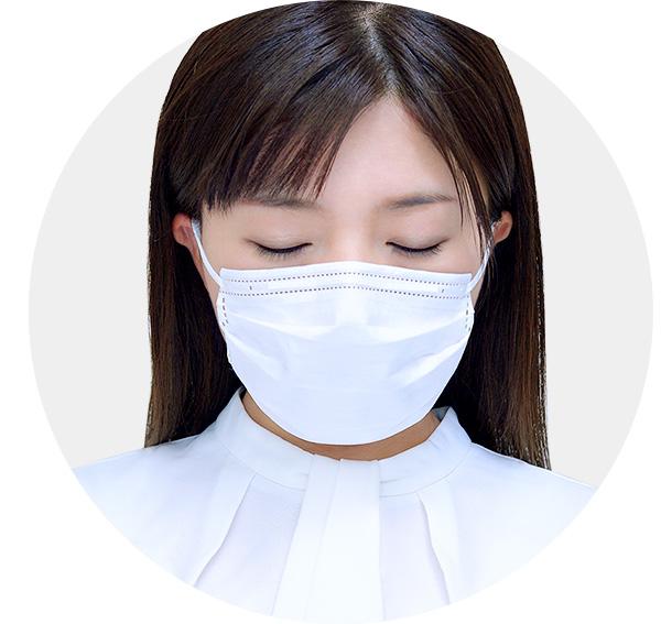 プリーツ立体構造マスク装着イメージ