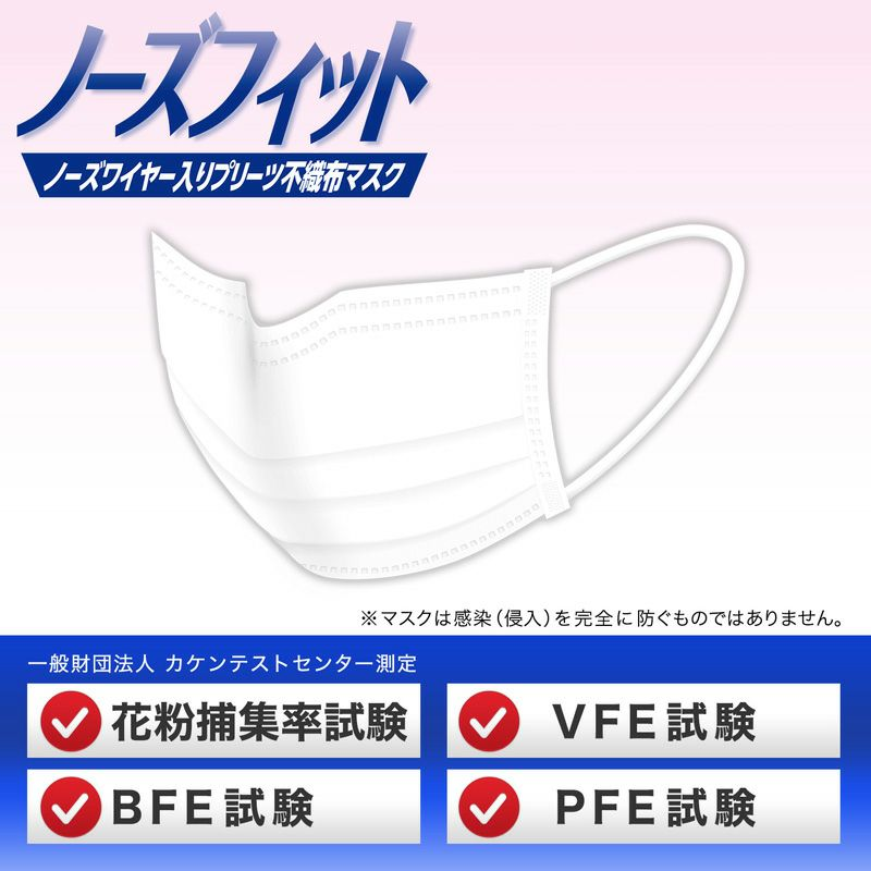 ノーズフィット 小さめ 不織布 マスク 30枚入
